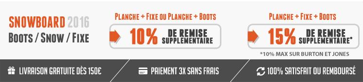 grosse remise : 10% sur le pack planche + fixations et 15% sur les pack planche + fixations +boots